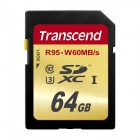 Transcend 64GB High Speed 10 UHS-3 Flash Memory Card 95/60 MB/s TS64GSDU3