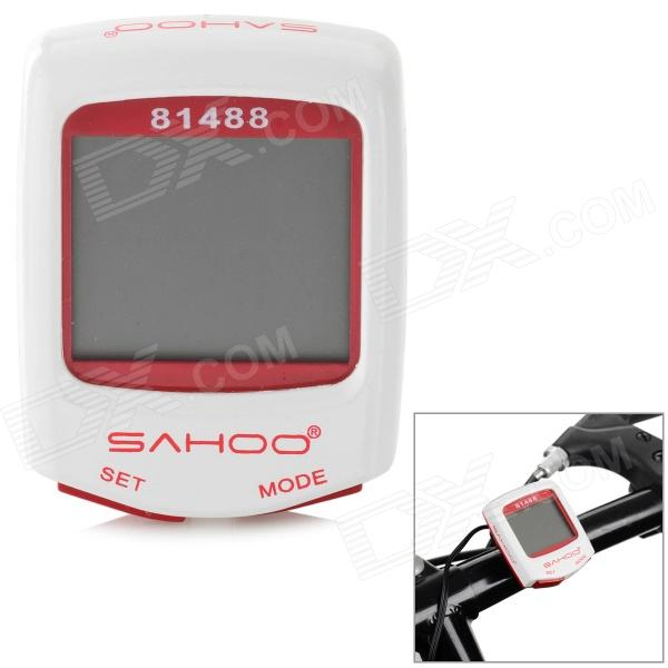 SAHOO 81488 1.5 Screen Wired Water Resistant Bicycle Stopwatch / Odometer - White + Red