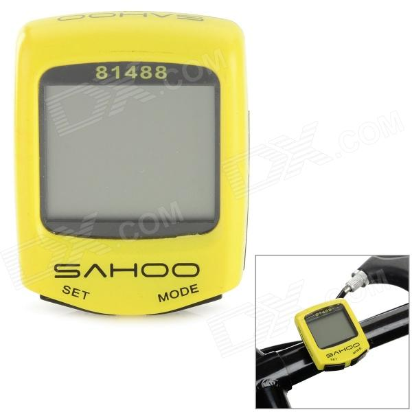 SAHOO 81488 1.5 Screen Wired Water Resistant Bicycle Stopwatch / Odometer - Yellow