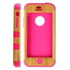 Fashionable Natural Wood Line Style Protective Silicone Back Case for IPHONE 5C - Yellow + Deep Pink