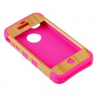 Fashionable Natural Wood Line Style Protective Silicone Back Case for IPHONE 4 - Yellow + Deep Pink