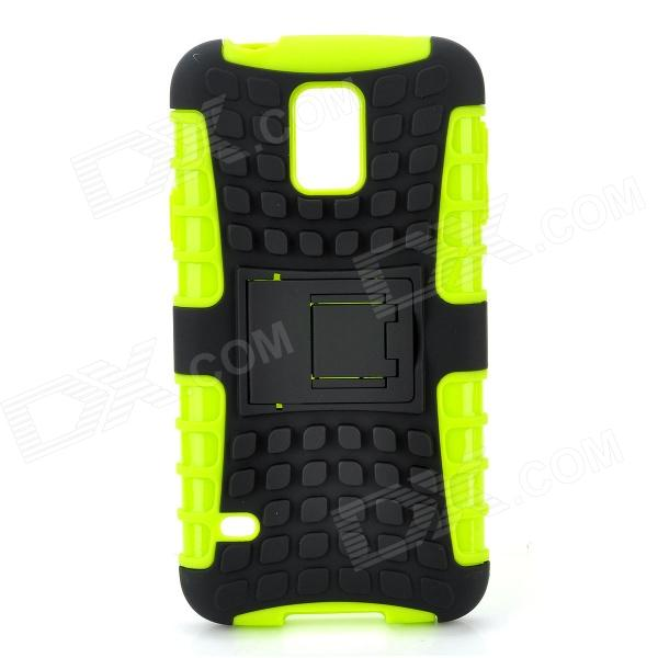 Protective TPU + PC Case Stand for Samsung Galaxy S5 - Black + Green protective tpu pc bumper frame for samsung galaxy s5 mini green