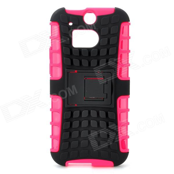 Protective TPU + PC Case Stand for HTC One 2 M8 - Black + Pink