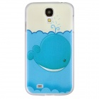 Stylish Lovely Whale Pattern Protective PC Back Case for Samsung Galaxy S4 i9500 - White + Blue