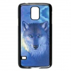 Fashionable 3D Effect Lonely Wolf Style Protective PC Back Case for Samsung Galaxy S5 - Black + Blue