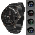 ICE 5ATM Fashionable Dial Pointer Colorful Backlight Silicon Band Men's Watch - Black (1 x LR626)