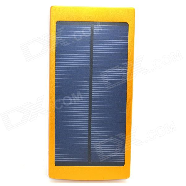 Universal Dual-USB 20000mAh Solar Powered Li-ion Battery Power Bank - Golden + White solar battery powered butterfly random color