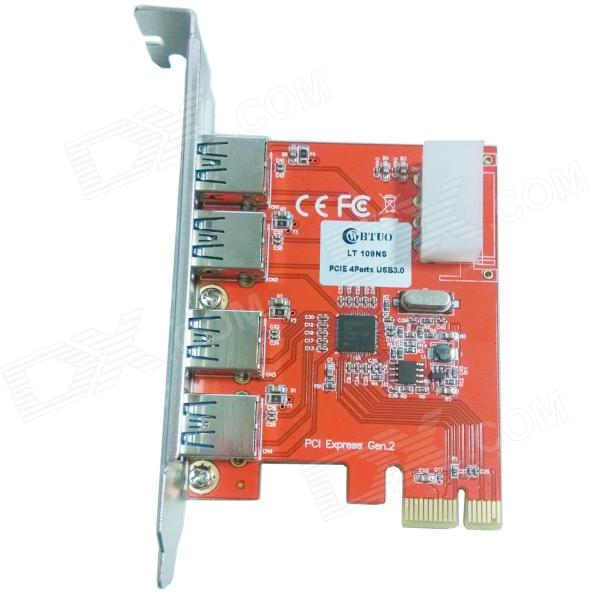 WBTUO LT109NS PCI-Express to USB 3.0 Card Expansion Card for Desktop Riser - Red