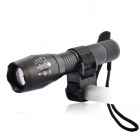 E17 CREE XM-L T6 5-Mode Memory Cool White LED Zoomable Flashlight w/ Bike Holder - Black