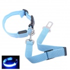 Pet Dog Safety LED Light Collar w/ Pet Car Safety Seat Belt - Light Blue