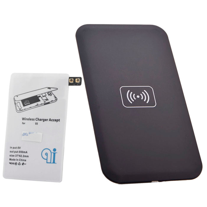 QI Standard Wireless Charger Charging Pad + Receiver for Samsung Galaxy S5 - White + Black
