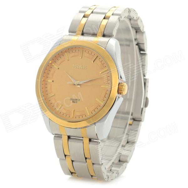 31 Men's Stainless Steel Wristband Analog Quartz Wristwatch - Golden + Silver (1 x LR626)