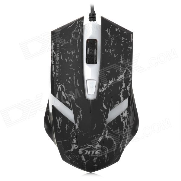 JIETE JT-04 USB 2.0 Wired 800-1600-2000dpi LED Optical Gaming Mouse - Black + White (Cable-170cm)