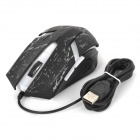 Jiete JT-04 USB 2.0 con cable 800-1600-2000dpi LED Optical Gaming Mouse - Negro + Blanco (Cable-170cm)