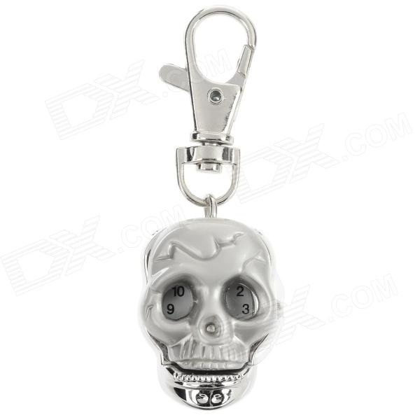 Fashionable Cool Skull Shaped Stainless Steel Analog Quartz Keychain Watch - Silver (1 x LR626)