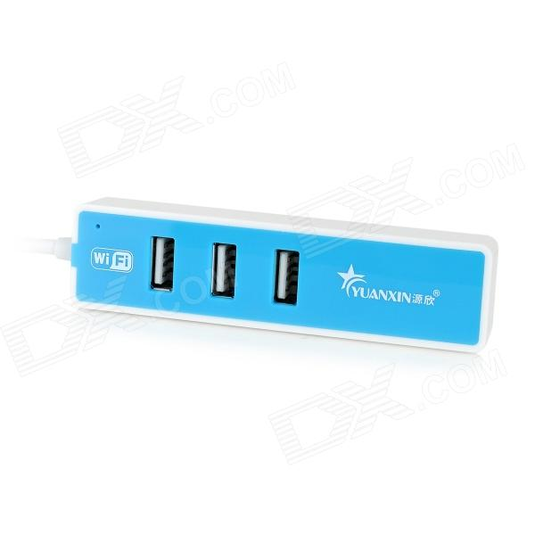 YUANXIN X-2103 Compact 3-Port USB 2.0 Hub w/ WiFi + LED Indicator - White + Blue yuanxin x 0141 4 port otg usb 2 0 hub w indicator light black