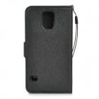 Classic Flip-open PU Case w/ Holder + Card Slot for Samsung Galaxy S5 - Black