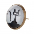 A100293 Retro Cute Kitty Patterned Round Earrings - Black + White (Pair)