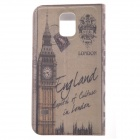 Big Ben Pattern Protective Leather Flip-Open Case w/ Plastic Back Case for Samsung Galaxy S5 - Grey