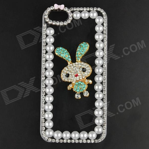 Pearl & Rhinestone Rabbit Style Protective Plastic Back Case for IPHONE 5 / 5S protective heart shape rhinestone decoration back case for iphone 5 brown