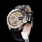 MCE Men's Fansionable Skeleton Dial Analog Automatic Mechanical Wristwatch - Golden + Black