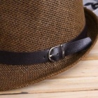 FenLu Fashionable Belt Style Ornament Straw Hat - Brown