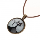 Women's Fashionable Cat Pattern PU Leather + Zinc Alloy Necklace - Brown + Black + White