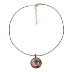 Women's Fashionable Eye Patterned Pendant PU Leather + Zinc Alloy Necklace - Yellow + Light Blue