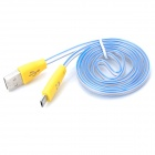 USB to Micro USB Data Sync & Charging Cable w/ LED for Samsung i9000/i9100/i9300 - Blue + Yellow