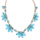 FenLu Fashionable Sweet Shiny Flower Ornament Necklace - Light Blue