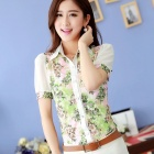 G560C5019 Stylish Printed Lace + Chiffon Shirt - White + Green (XL)