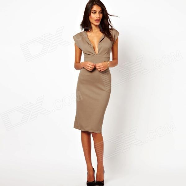 LC861776 Women's Plunge Cleavage Pencil Dress w/ Zipper Back - Khaki (Size/M) zip back fit and flared plaid dress