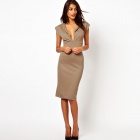 LC861776 Women's Plunge Cleavage Pencil Dress w/ Zipper Back - Khaki (Size/M)