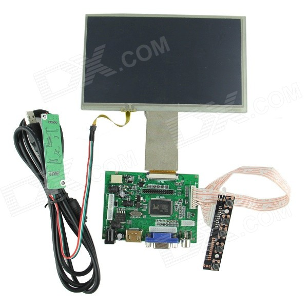 "7"" Digital Touch Screen + Drive Board (HDMI + VGA + 2AV) for Raspberry / Pcduino / Cubieboard"