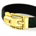 hos-Color AG704350 Jasper Rhinestone Studded Belt Buckle stil Wide Bracelet-Sort + gylne