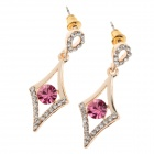 Fashionable Shining Diamond Ear Studs - Silver + Deep Pink (Pair)
