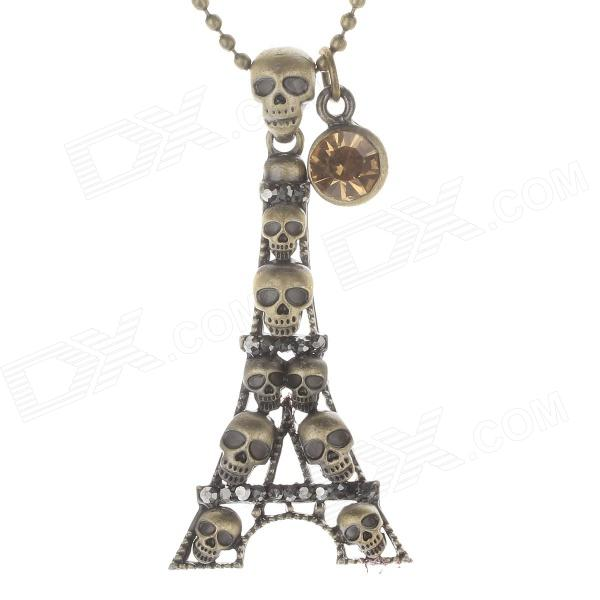 Fashion Tower + Skull Style Women's Sweater Necklace - Antique Brass