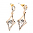 Fashionable Shining Diamond Ear Studs - Silver (Pair)