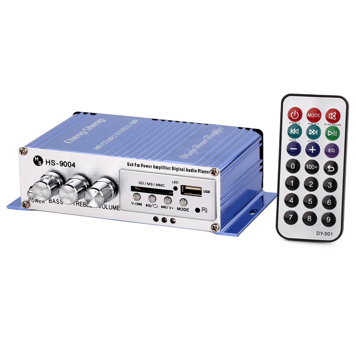 Chengsheng 40W 2-CH Hi-Fi MP3 Amplifier w/ SD / USB for Car / Motorcycle - Blue + Silver