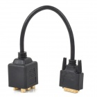 1080P DVI Male to VGA Female +3 RCA AV Cable - Black (32cm)