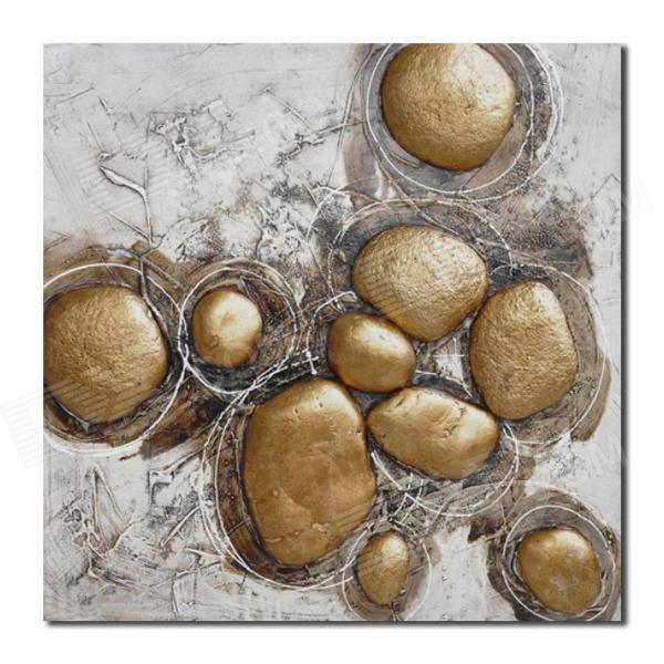 Iarts DX0226-02 Hand-drawn Stones Pattern Decorative Pigment + Canvas Oil Painting - Gold (60 x 60)