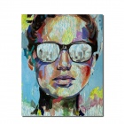 "Iarts DX0226-08 Hand-painted ""Man in Glasses"" Decorative Oil Painting - Blue + Yellow (60 x 80)"