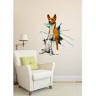 3D Cat + Dog Pattern Wall Sticker Decal - Yellow + Light Brown