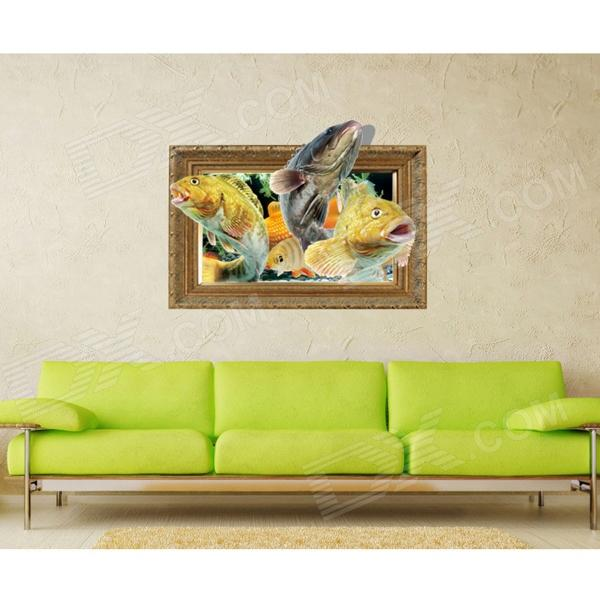 3D Fish Pattern Wall Sticker Decal - Light Yellow + Red