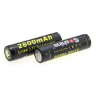Soshine Protected 18650 3.7V 2800mAh Lithium Batteries with Case - Black (2-Battery Pack)