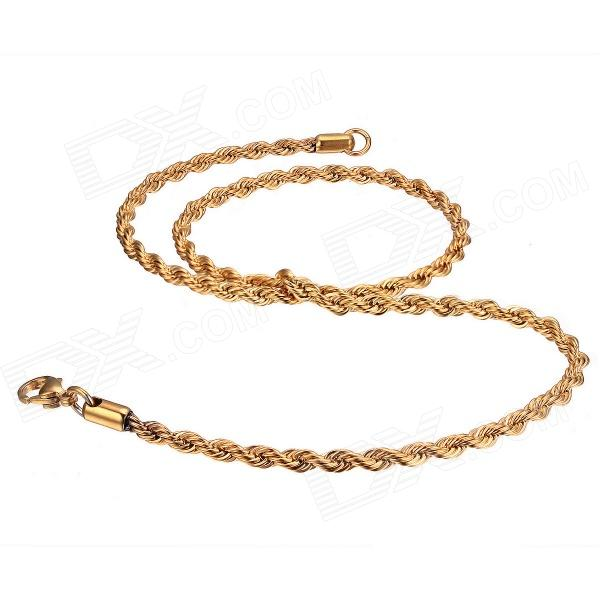EQute CSS19T2S20C3 Mens Fashionable Stainless Steel Necklace - Golden - DXNecklaces<br>Color Golden Brand EQute Model CSS19T2S20C3 Quantity 1 Piece Shade Of Color Gold Gender Men Suitable for Adults Chain Material Stainless steel Pendant Material No Chain Length 50.8 cm Chain Width 0.35 cm Packing List 1 x Necklace<br>