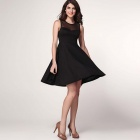 LC2946 Sexy Women's Round Neck Sleeveless Cross Bow Back Dress - Black