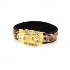 IN-Color AG704350 Pink Rhinestone Studded Belt Buckle Style Wide Bracelet - Black + Golden