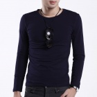FENL Men's Casual Round Neck Cotton Long Sleeve T-shirt - Deep Blue (Size XL)