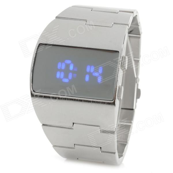 Mode 1.1'' LCD en alliage de zinc bracelet numérique Light Blue Montre LED de ShiFenMei hommes (1 x CR2032)